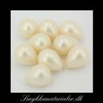 20090574, Anboret Shell Pearl dråbe, Creme-hvid, 18x14 mm