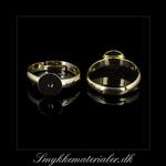 20091894, Forgyldt fingerring m/8 mm plade, justerbar