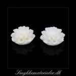 20091971, Cabochon resin, lys creme blomst, 15x8 mm