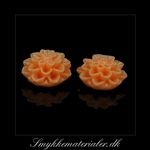 20092859, Cabochon resin, lys orange blomst, 15x8 mm